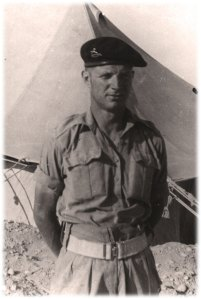 William Leacock in front of a Bell Tent, North Africa, 1941